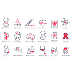 different hospital department icons set vector image