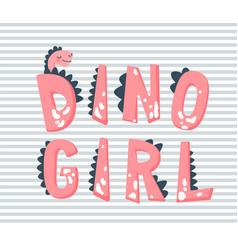 Dino girl hand drawn pink vector