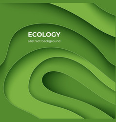 ecology paper cut poster green eco abstract 3d vector image