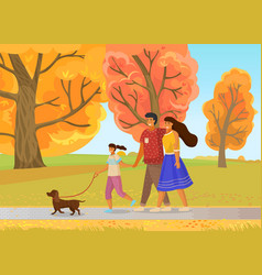 family walks in nature with dog city park yellow vector image