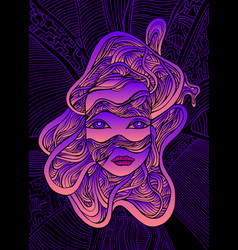 fantastic cyborg girl face in wires bright pink vector image