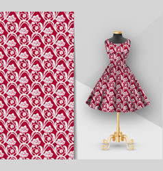 Fashion red fabric printed dress on a black vector