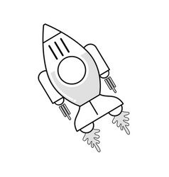 figure space rocket galaxy sky travel vector image