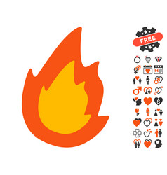 fire icon with love bonus vector image