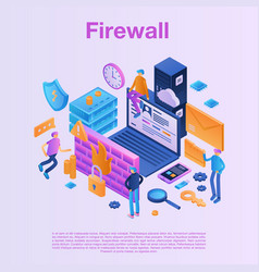 Firewall data concept background isometric style vector