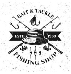 fishing shop emblem with fisherman hat vector image