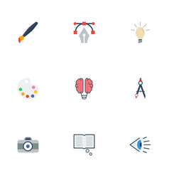 flat icons concept eye science and other vector image