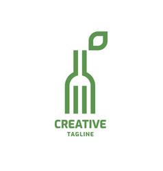 fork with leaf logo vector image