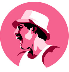 Freddie mercury logo avatar monochrome style vector
