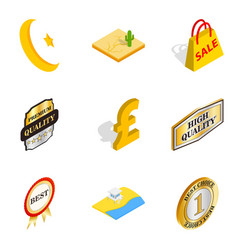 free world icons set isometric style vector image