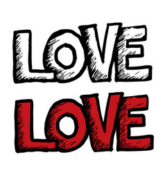 freehand love letters text doodle vector image