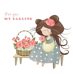 Girl with basket of roses vector image