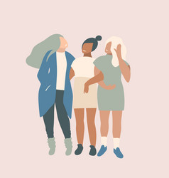 Girlfriends talking together fashionable stylish vector