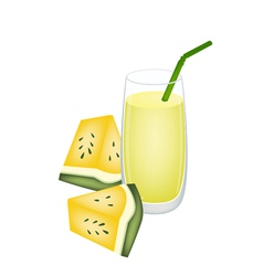 Glass of Yellow Watermelon Juice and Watermelon vector image