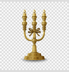 golden candelabrum with three candlesticks vector image