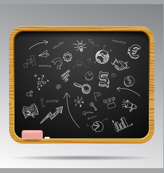hand drawn business icons on blackboard vector image