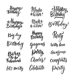 handwritten happy birthday lettering collection vector image