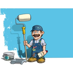 Handyman Wall Painter Blue Uniform vector image