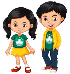 happy boy and girl wearing shirt with flag of vector image