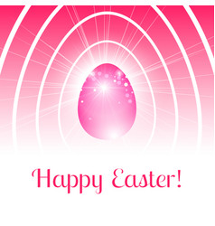 Happy easter card with pink egg in light rays vector
