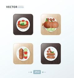 Hot dog Icons design food on wood vector image