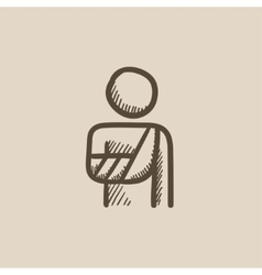 Injured man sketch icon vector