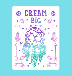 inspirational poster with dream catches vector image
