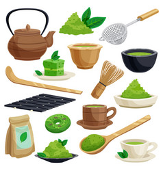 Japanese tea ceremony icons set vector