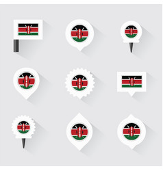 Kenya flag and pins for infographic and map design vector