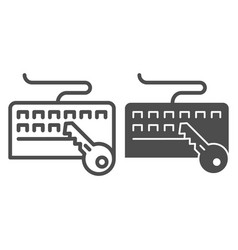 Keyboard and key line and glyph icon keyboard vector