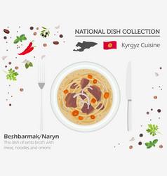 kyrgyzstan cuisine asian national dish collection vector image