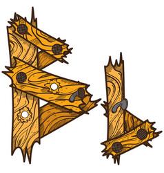 Letter b from wooden planks alphabet vector