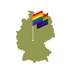 Lgbt germany map of deutschland and gay flag vector