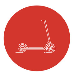 line art style kick scooter icon vector image