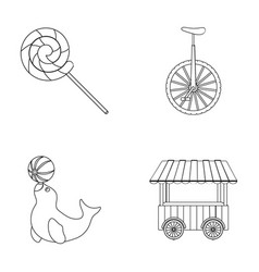 Lollipop trained seal snack on wheels monocycle vector