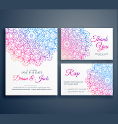 mandala style wedding invitation template with vector image