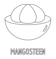 Mangosteen icon outline style vector