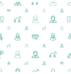 Microphone icons pattern seamless white background vector