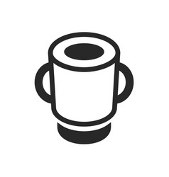 monochrome soup plate with handles icon on white vector image