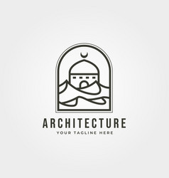 Mosque and desert logo symbol design vector