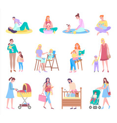 Mother and baby care and love motherhood set vector