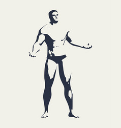 muscular man silhouette vector image