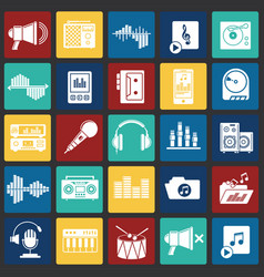 music and sound icons set on color squares vector image