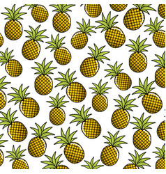 Natural pineapple fruit background icon vector