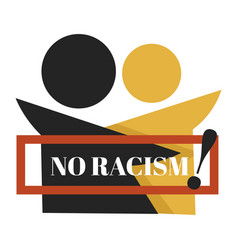 no racism isolated emblem dark and fair skin vector image