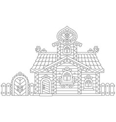 Ornate log cabin vector