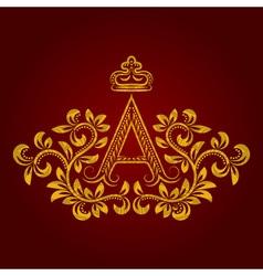 Patterned golden letter a monogram in vintage vector