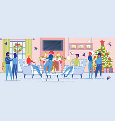 people celebrating winter holiday in festive room vector image