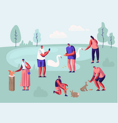 people spending time in animal park vector image