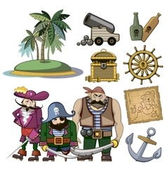 pirate characters set in cartoon style vector image